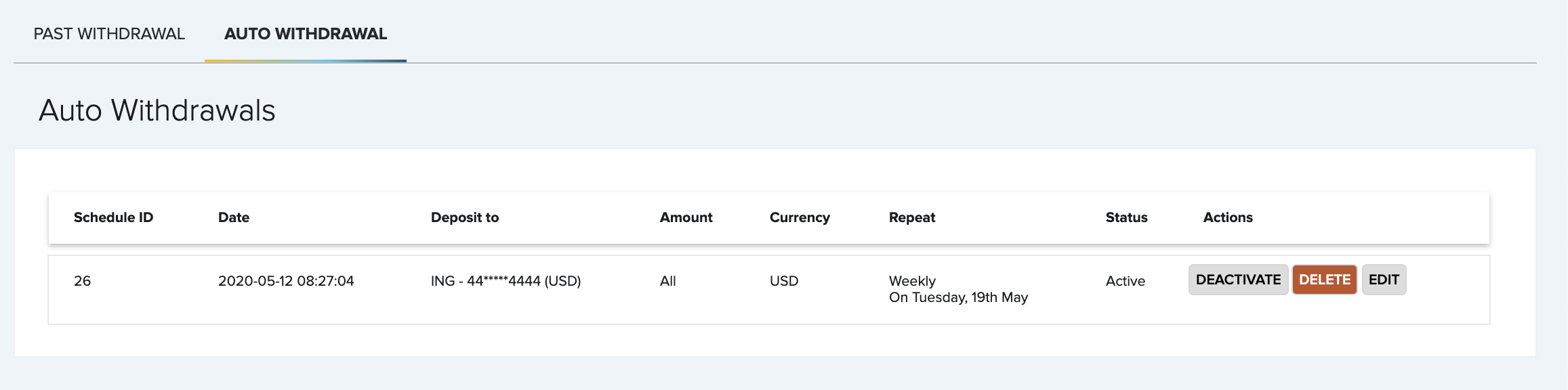 FasterPay scheduled-withdrawal screen